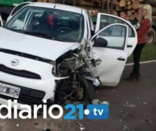 foto: Así quedó el automóvil de la periodista correntina Virginia Acosta