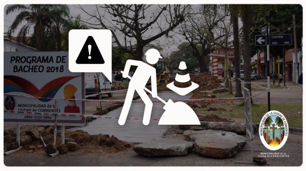 foto: Corte de tránsito por obras y desvío de colectivos en calle Paraguay