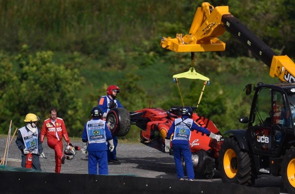 foto: El accidente entre Sebastian Vettel y Charles Leclerc en la Fórmula 1