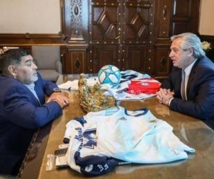 foto: Diego Maradona visitó a Alberto Fernández en Casa Rosada