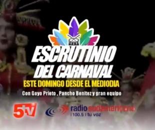 foto: Transmisión de Sudamericana en el Escrutinio de Carnavales 2020