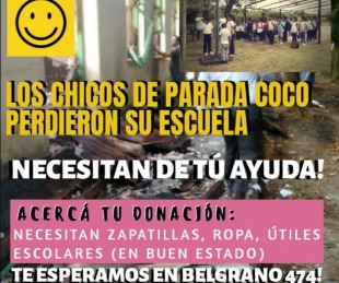 foto: Campaña Solidaria para los chicos de la escuela incendiada