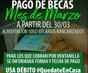 foto: Desde el lunes 30 se pagan becas de Desarrollo Social