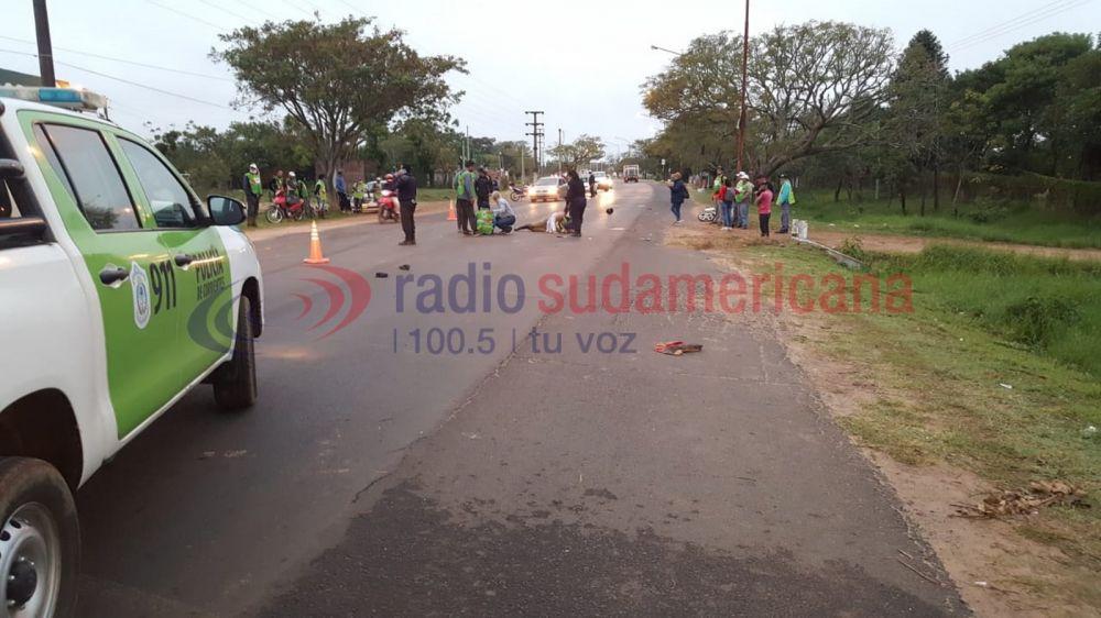 foto: Municipales fueron atropellados por un auto que se dio a la fuga