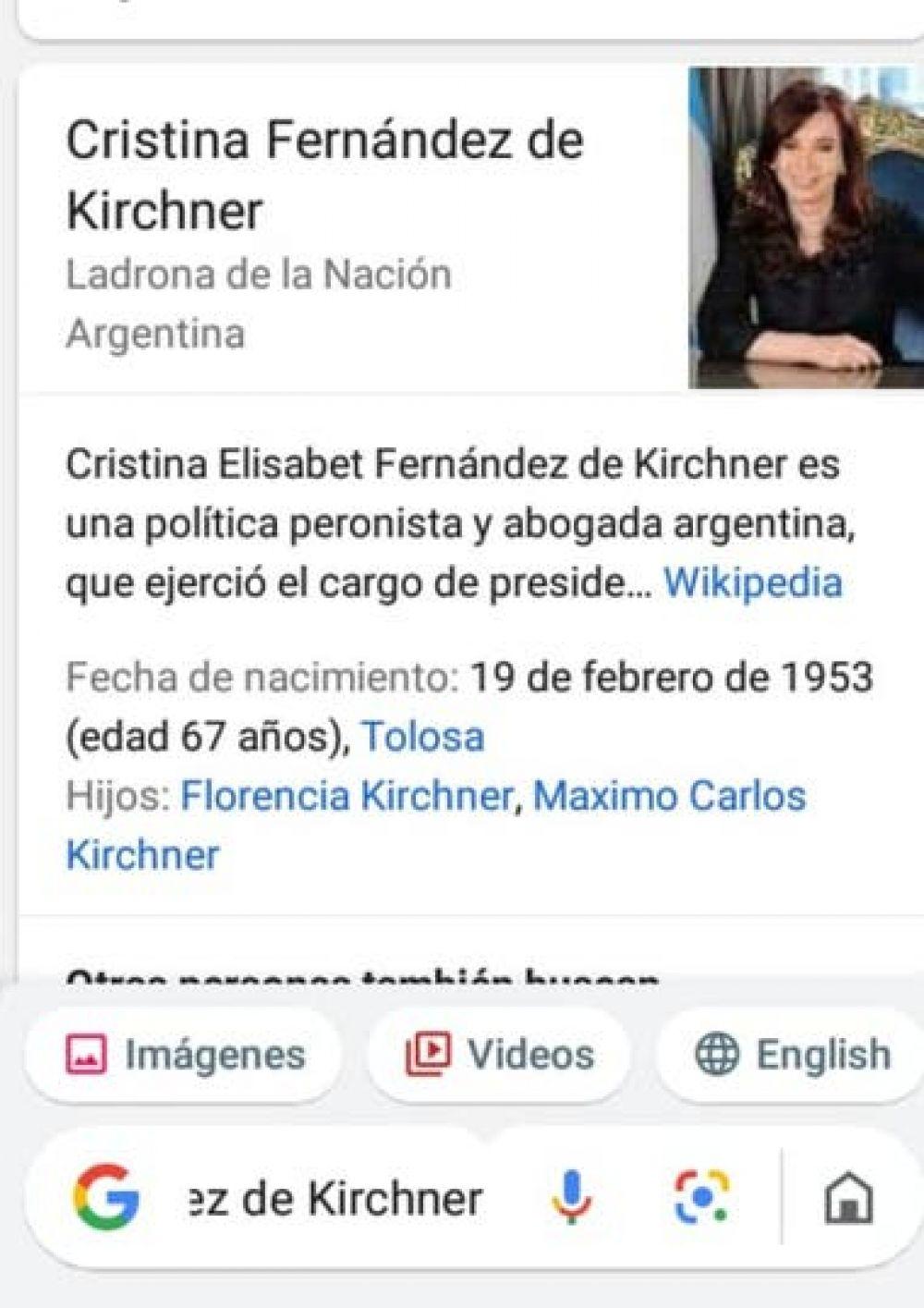 foto: Google explicó su error con el cargo de Cristina Kirchner