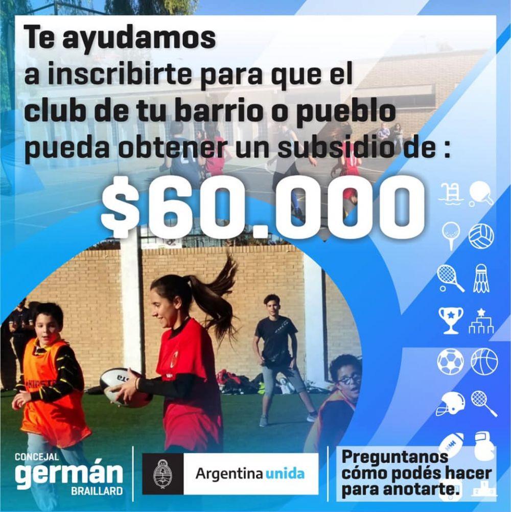 foto: Subsidios  de hasta $60.000 para clubes y ONGs locales