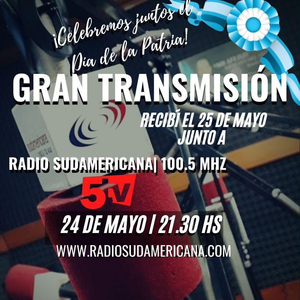 foto: Transmisión: recibí el 25 de Mayo con Sudamericana y Canal 5TV