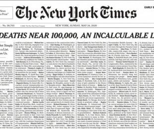 foto: La impactante tapa del New York Times respecto de las muertes en E.U.