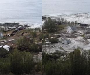 foto: Un deslizamiento de tierra arrasó ocho casas en las costas de Noruega
