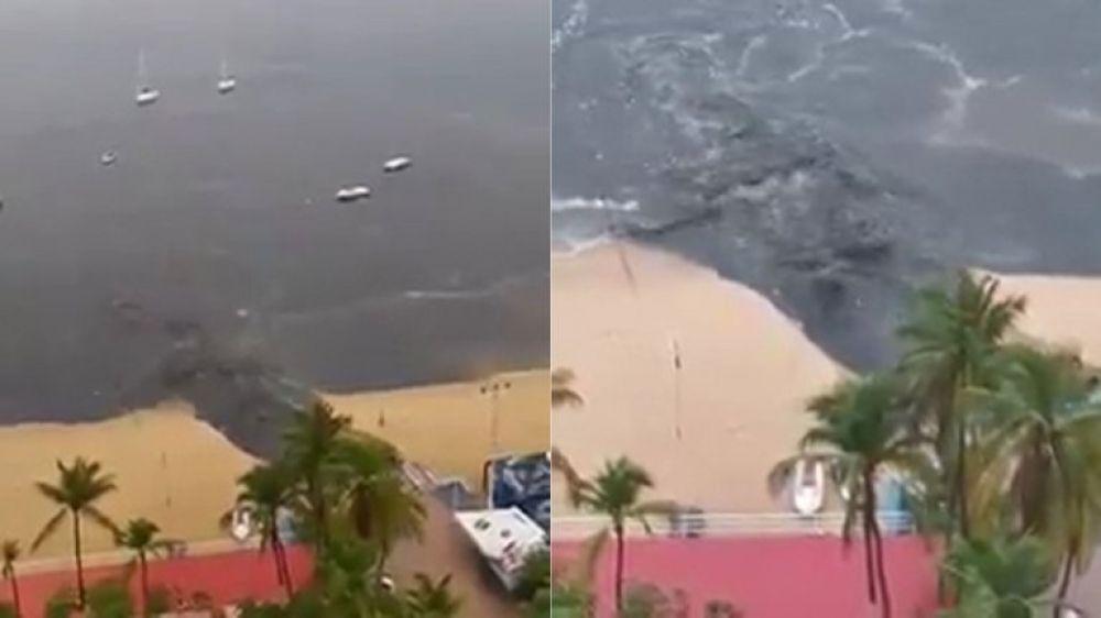 Acapulco: indignante momento en que vierten aguas servidas en la playa