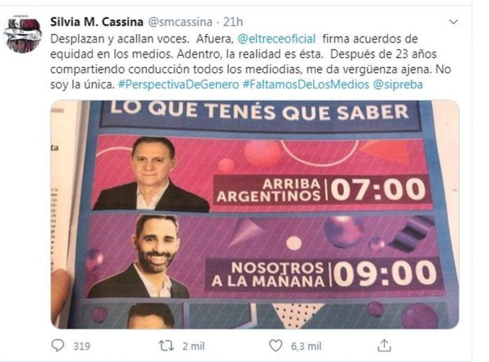 Echaron a Silvia Martínez Cassina de la conducción de Noticiero Trece