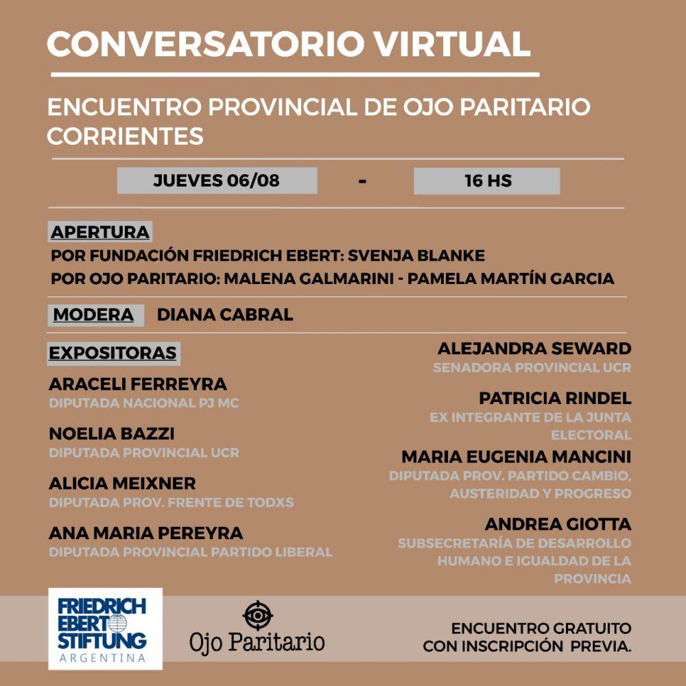 Conversatorio virtual sobre paridad de género en Corrientes