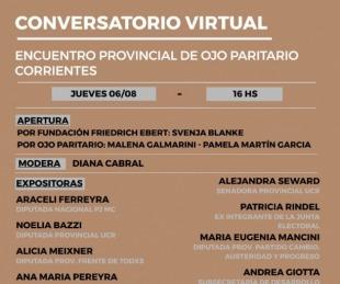foto: Conversatorio virtual sobre paridad de género en Corrientes