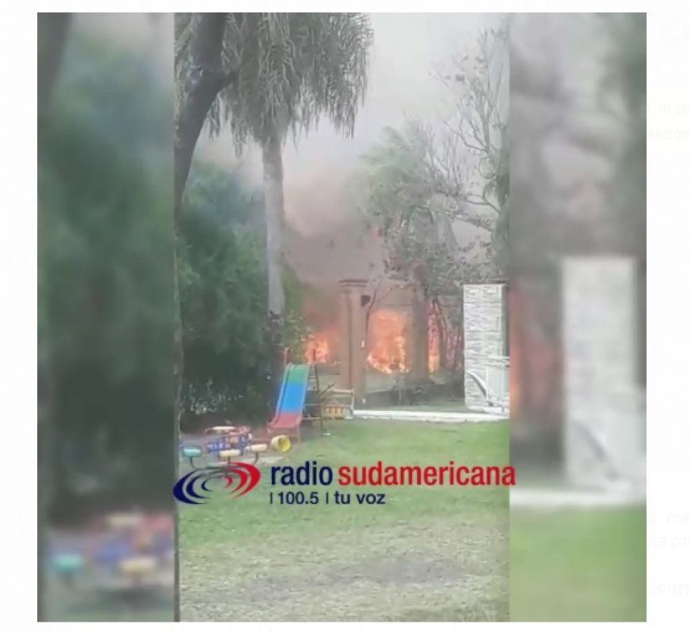 Video: Peligroso incendio en un barrio privado de Santa Ana