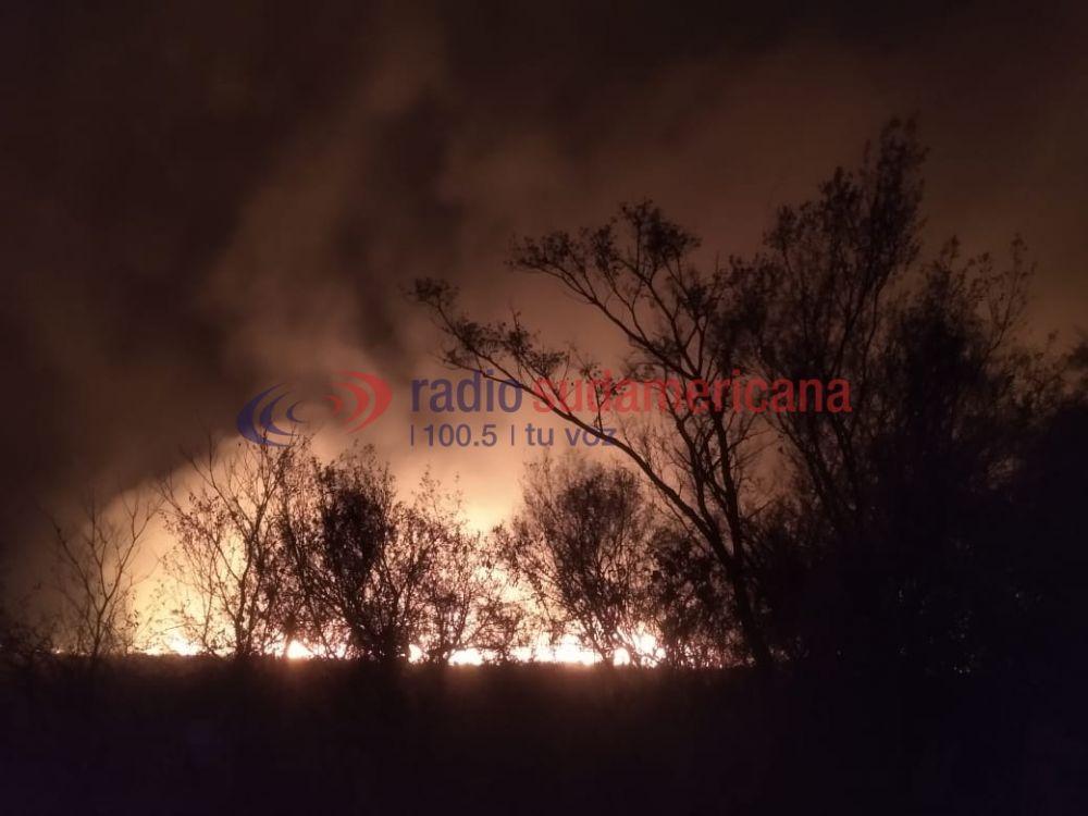 Imágenes del feroz incendio en campos de San Cayetano