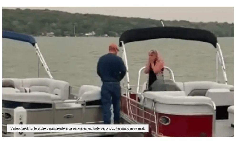 Le pidió casamiento a su pareja en un bote pero todo terminó muy mal