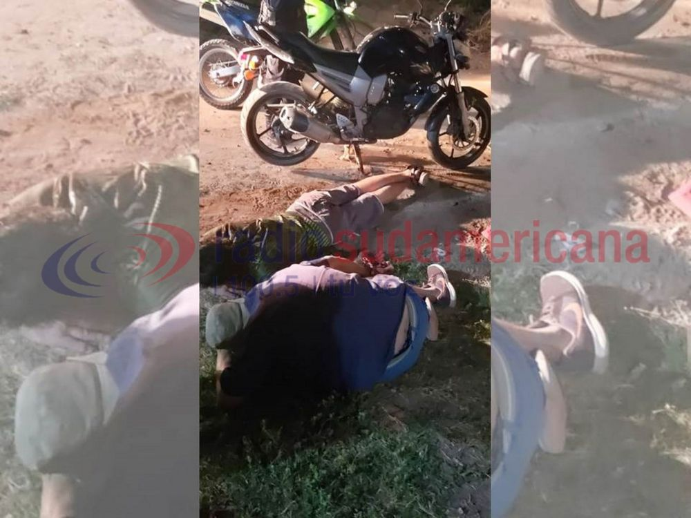 Escapaban de la policía en una moto robada, cayeron y fueron detenidos