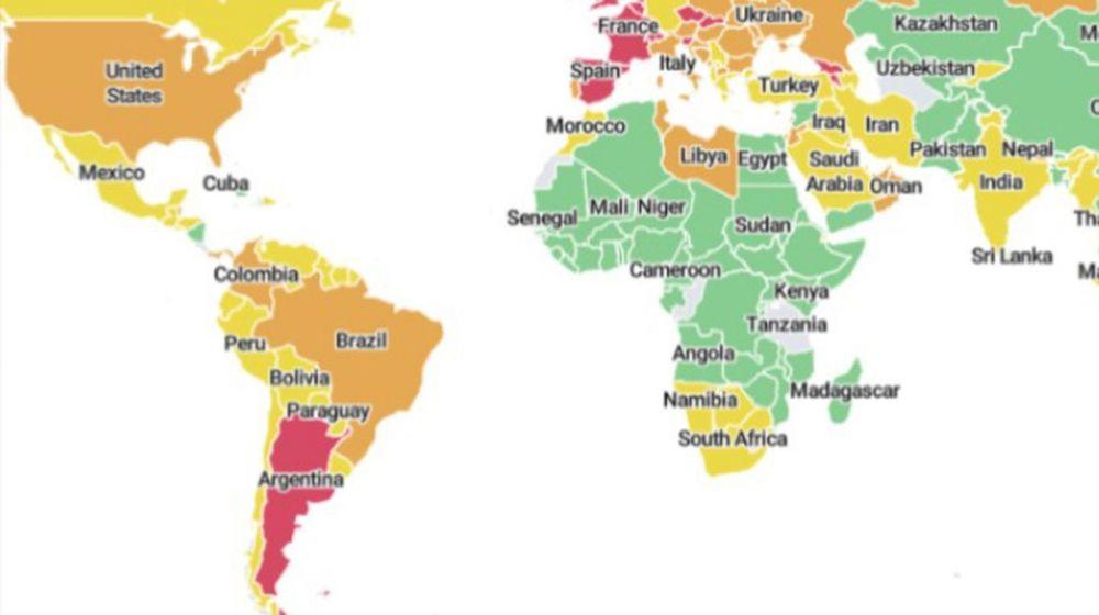 COVID-19: Argentina es el único país en rojo en el mapa de Harvard