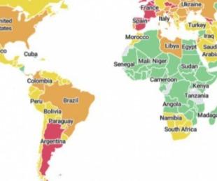 foto: COVID-19: Argentina es el único país en rojo en el mapa de Harvard