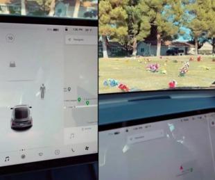 foto: Sensores de un Tesla captaron a ¿un fantasma? en un panteón
