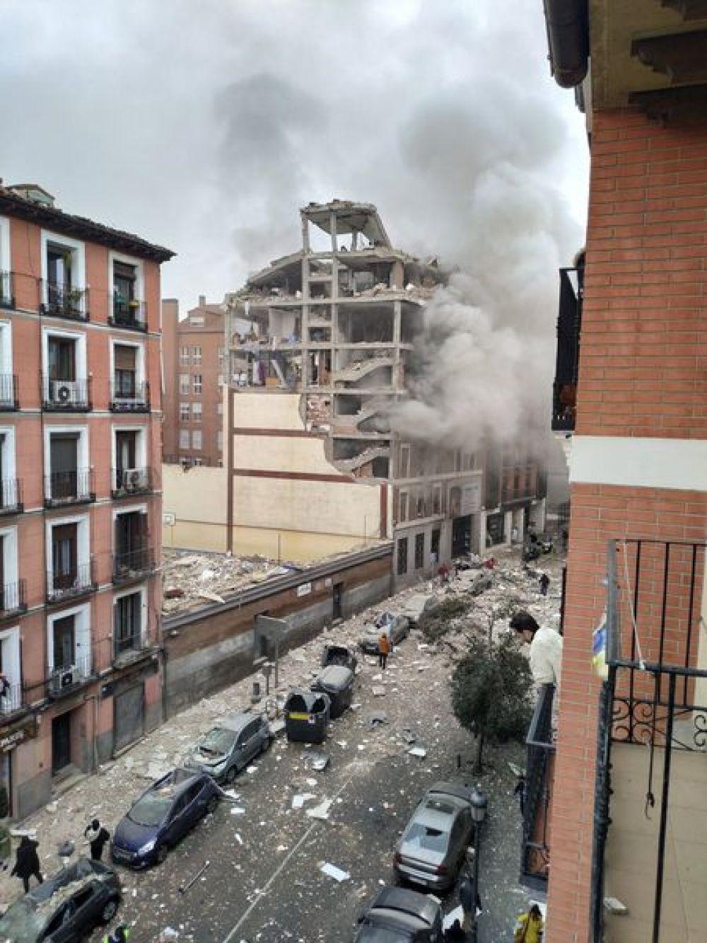 Una fuerte explosión en Madrid destrozó un edificio céntrico
