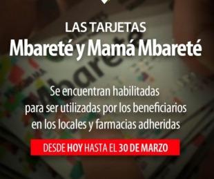 foto: Se encuentran habilitadas las tarjetas Mbareté y Mamá Mbareté