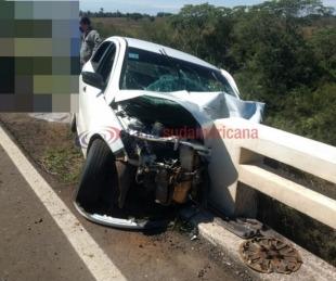 foto: Circulaba por Ruta Nacional 14 y se incrustó contra el guardarraíl
