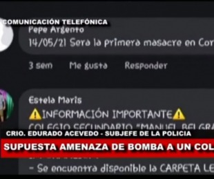 foto: Supuesta amenaza de bomba en una Escuela de Corrientes