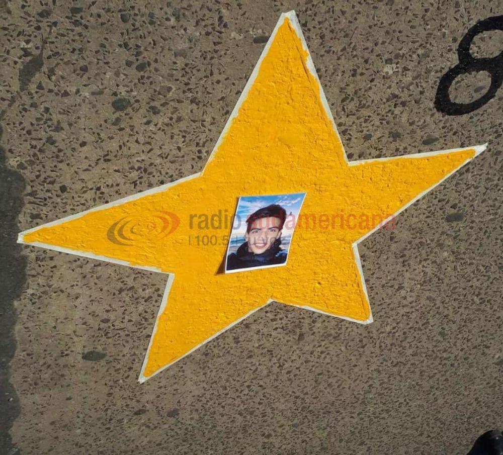 Caso Rodrigo López: pintaron una estrella en donde murió el joven