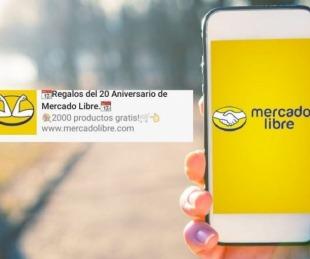 foto: El falso mensaje de WhatsApp que ofrece regalos de Mercado Libre