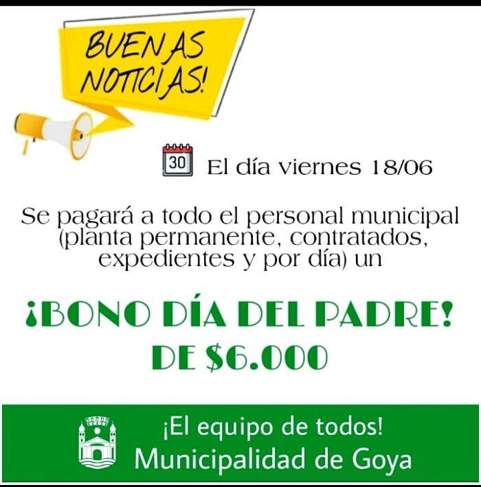 Empleados municipales recibirán un bono especial por el día del padre