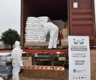 foto: Incautaron 1.500 kilos de hidróxido de sodio que llevaban en un camión