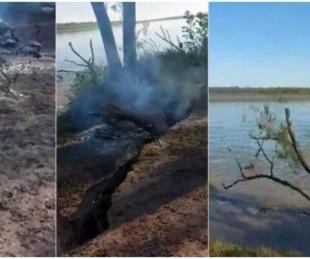 foto: Video: Hacían un asado a orillas del Paraná y el río se tragó la parrilla