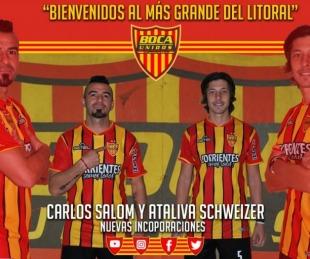 foto: Carlos Salom y Ataliva Schweizer incorporaciones de Boca Unidos