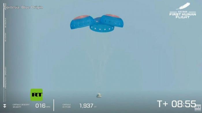 Histórico: Jeff Bezos realizó con éxito el primer vuelo al espacio