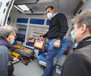 foto: Libres: Valdés entregó una ambulancia y visitó una comisaría en construcción