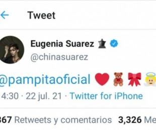 foto: El tuit de la China Suárez a Pampita por el nacimiento de su hija