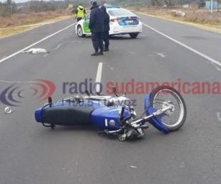 foto: Motociclista sufrió lesiones tras chocar a un perro en Ruta 12