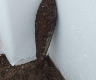 foto: Halló un misil enterrado en su casa cuando cavaba para poner plantas