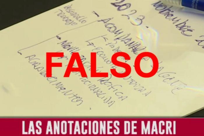 Las anotaciones virales con errores ortográficos no son de Macri
