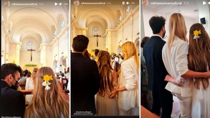 Nicole Neumann y Fabián Cubero compartieron la comunión de su hija con sus nuevas parejas