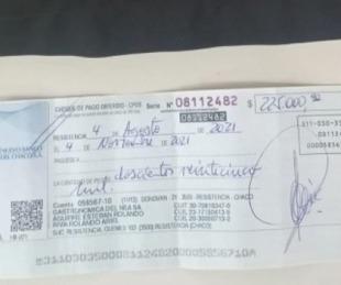 foto: Un hombre intentaba vender un cheque robado por 225 mil pesos