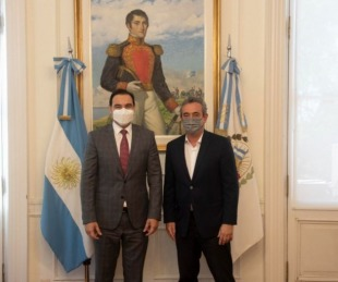 foto: En Santa Fe: Valdés fue recibido por el intendente de Rosario
